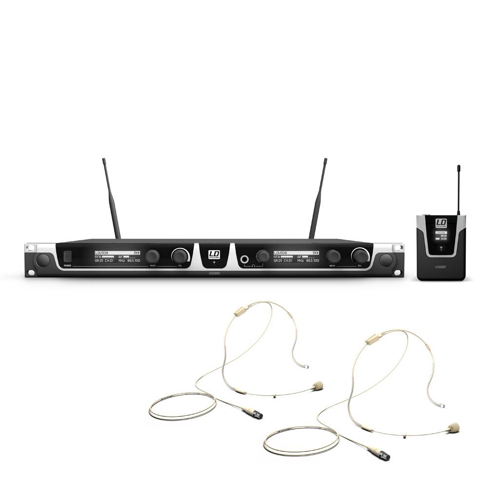 LD Systems U508 BPHH2 - Trådløs Mikrofon system med 2 x Bodypack og 2 x hudfarvet Headset